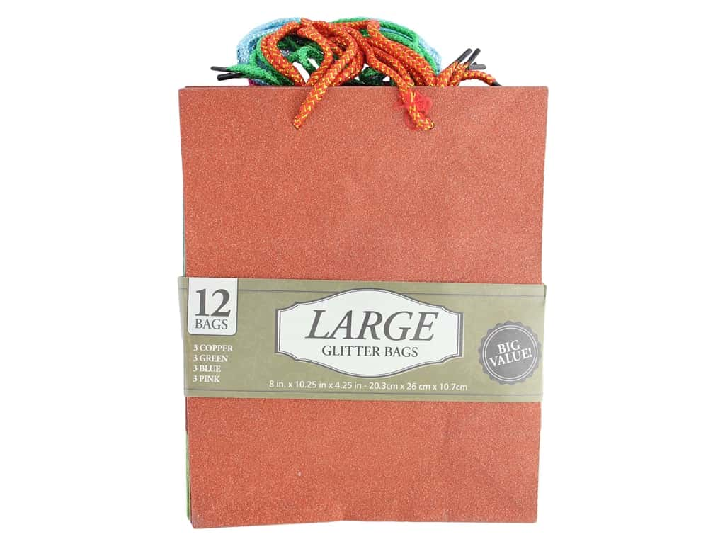 Leisure Arts Large Glitter Bags 12pc Assorted