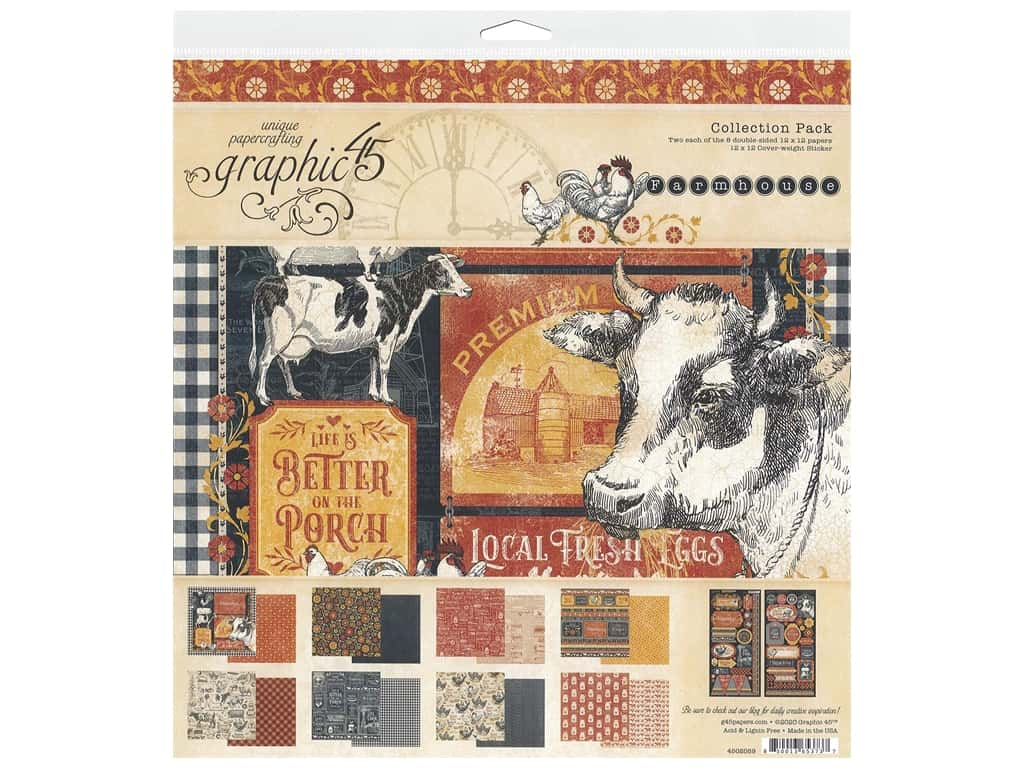 Graphic 45 Collection Farmhouse Collection Pack 12 in. x 12 in.