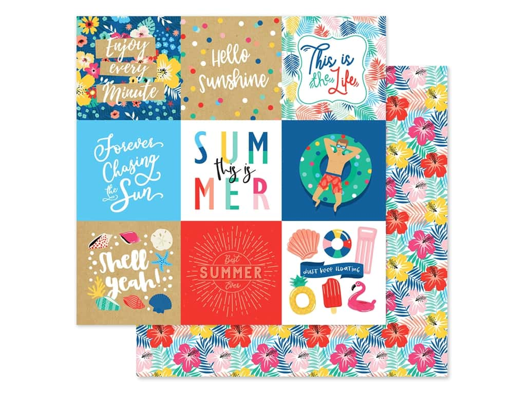 Echo Park Collection Dive Into Summer Paper 12 in. x 12 in. Journaling Cards 4 in. x 4 in. (25 pieces)
