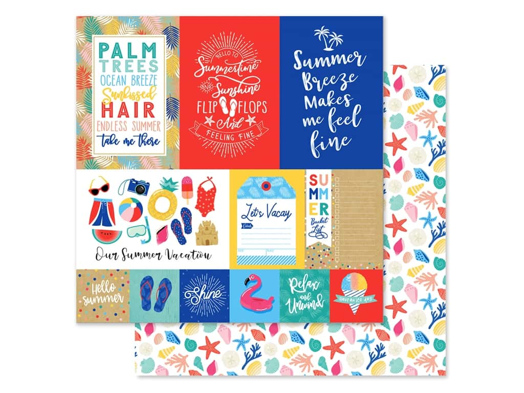Echo Park Collection Dive Into Summer Paper 12 in. x 12 in. Journaling Cards Multi (25 pieces)