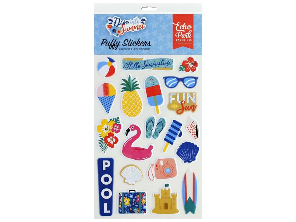 Echo Park Puffy Stickers Dive Into Summer