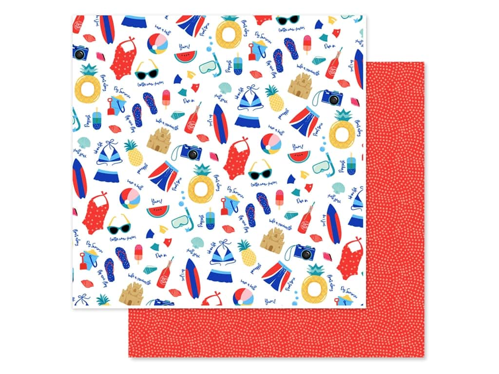 Echo Park Collection Dive Into Summer Paper 12 in. x 12 in. Pool Time (25 pieces)