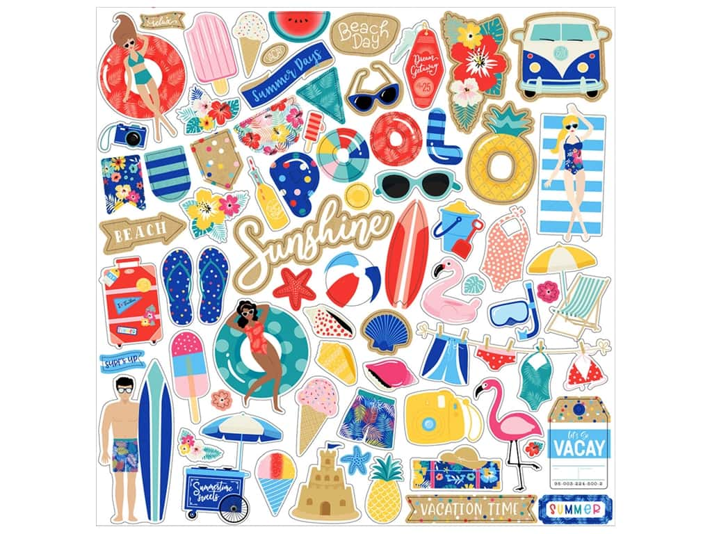 Echo Park 12 x 12 in. Elements Stickers Dive Into Summer (15 pieces)
