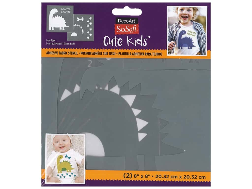 DecoArt Stencil SoSoft Fabric 8 in. x 8 in. Dino Rawr 2 pc