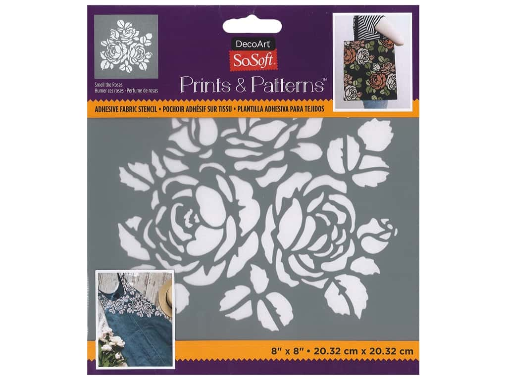 DecoArt Stencil SoSoft Fabric 8 in. x 8 in. Smell The Roses