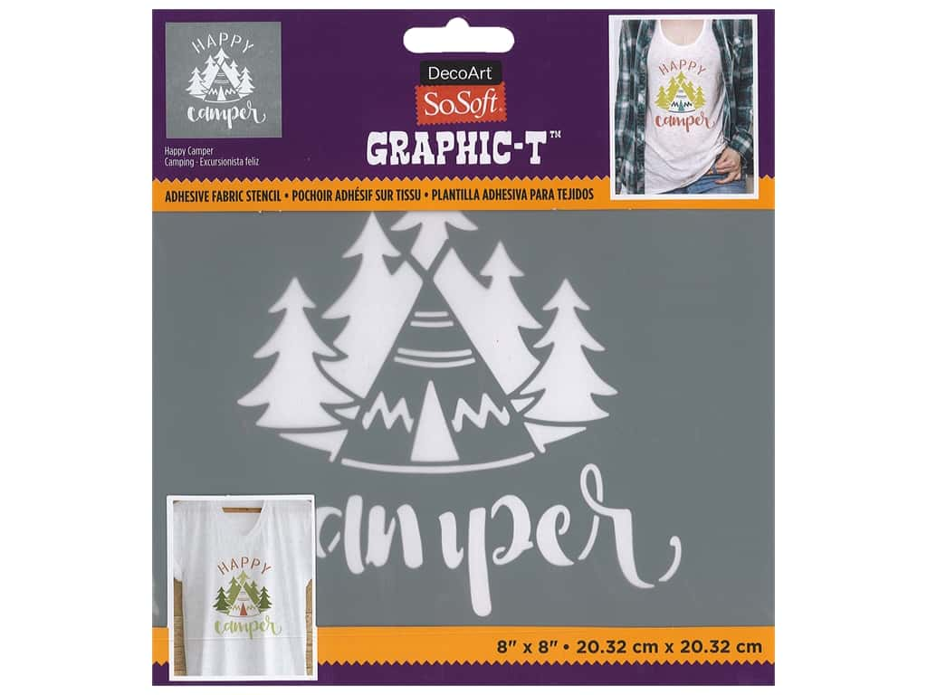 DecoArt Stencil SoSoft Fabric 8 in. x 8 in. Happy Camper