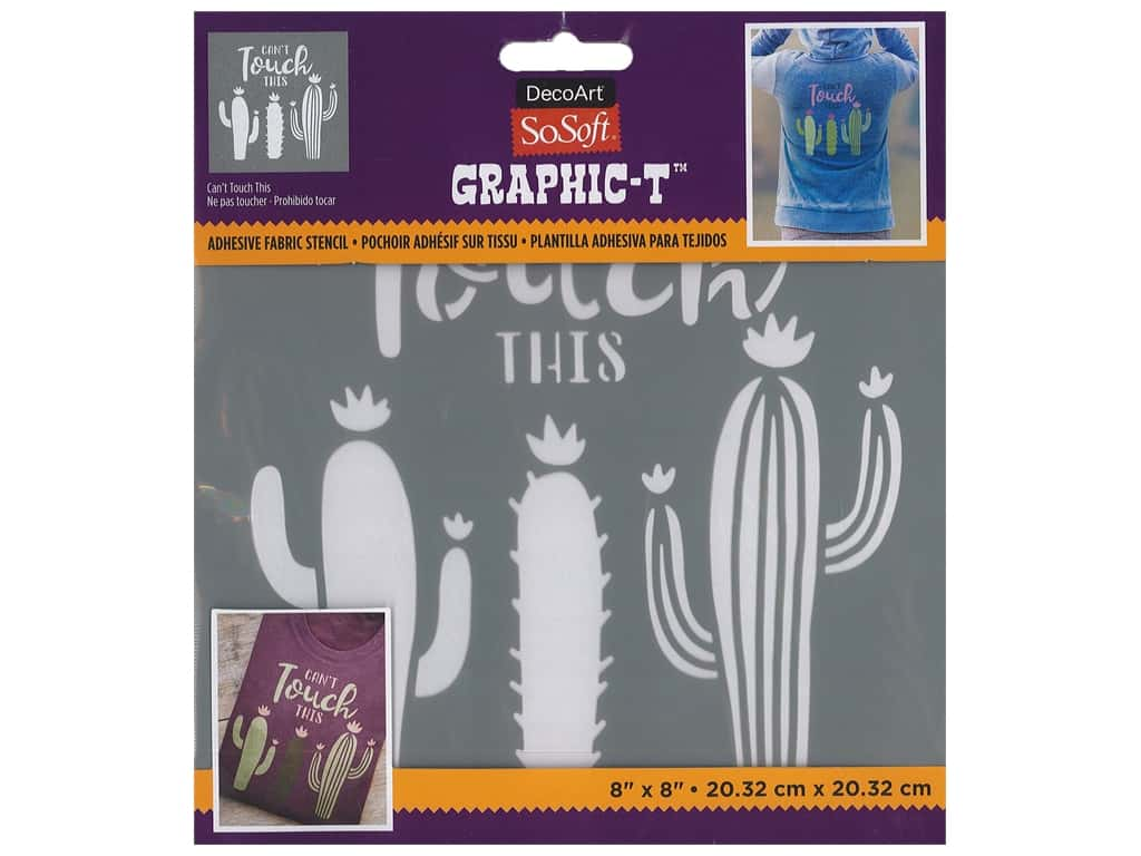 DecoArt Stencil SoSoft Fabric 8 in. x 8 in. Can't Touch This
