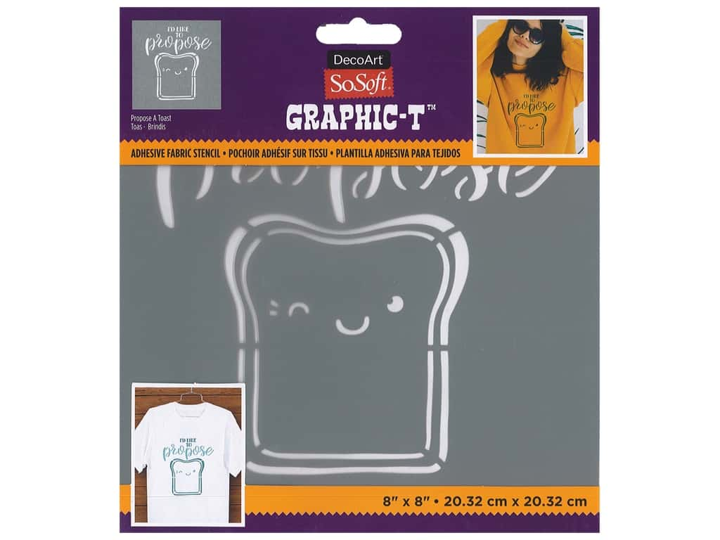 DecoArt Stencil SoSoft Fabric 8 in. x 8 in. Propose A Toast