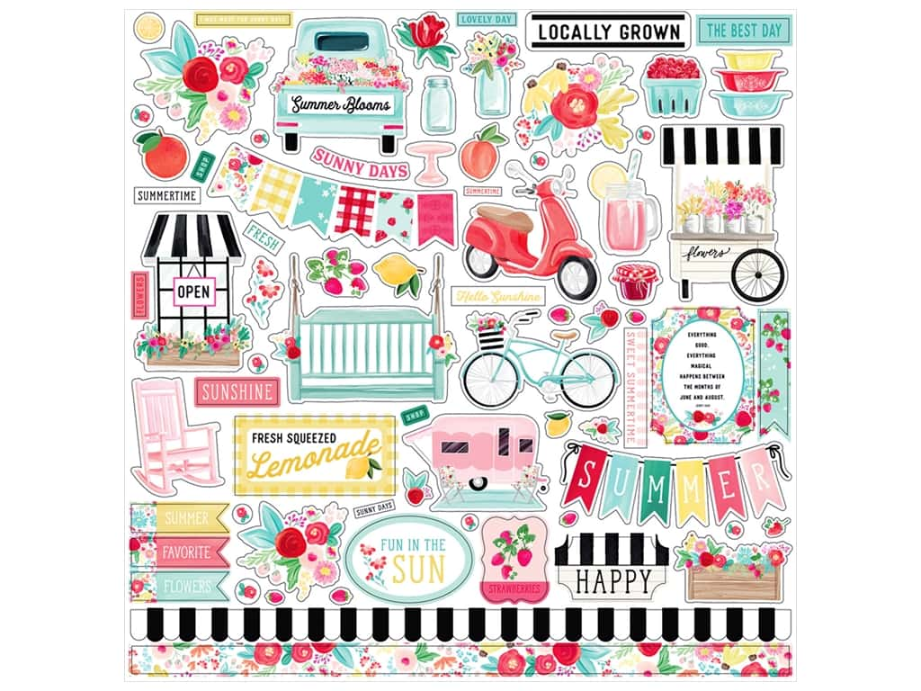 "Carta Bella Collection Summer Market Sticker 12""x 12""  Elements (15 pieces)"