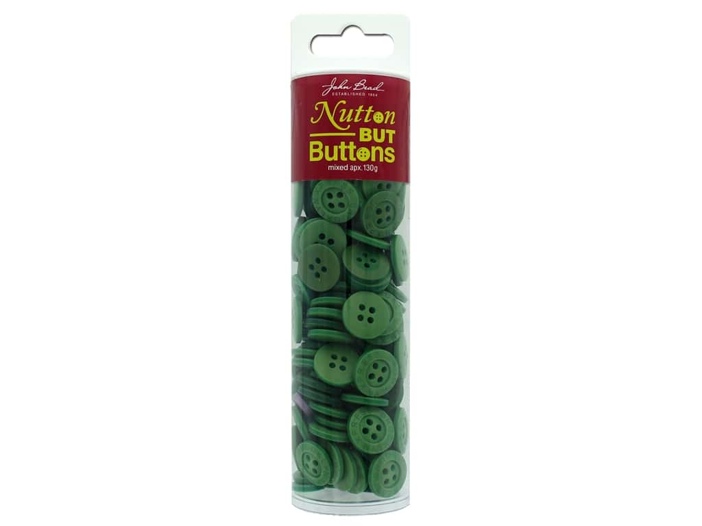 John Bead Nutton But Buttons Resin 130g Green