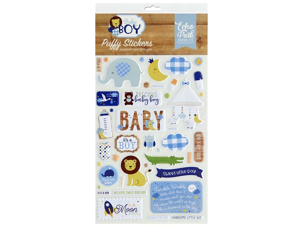 Echo Park Collection Baby Boy Stickers Puffy