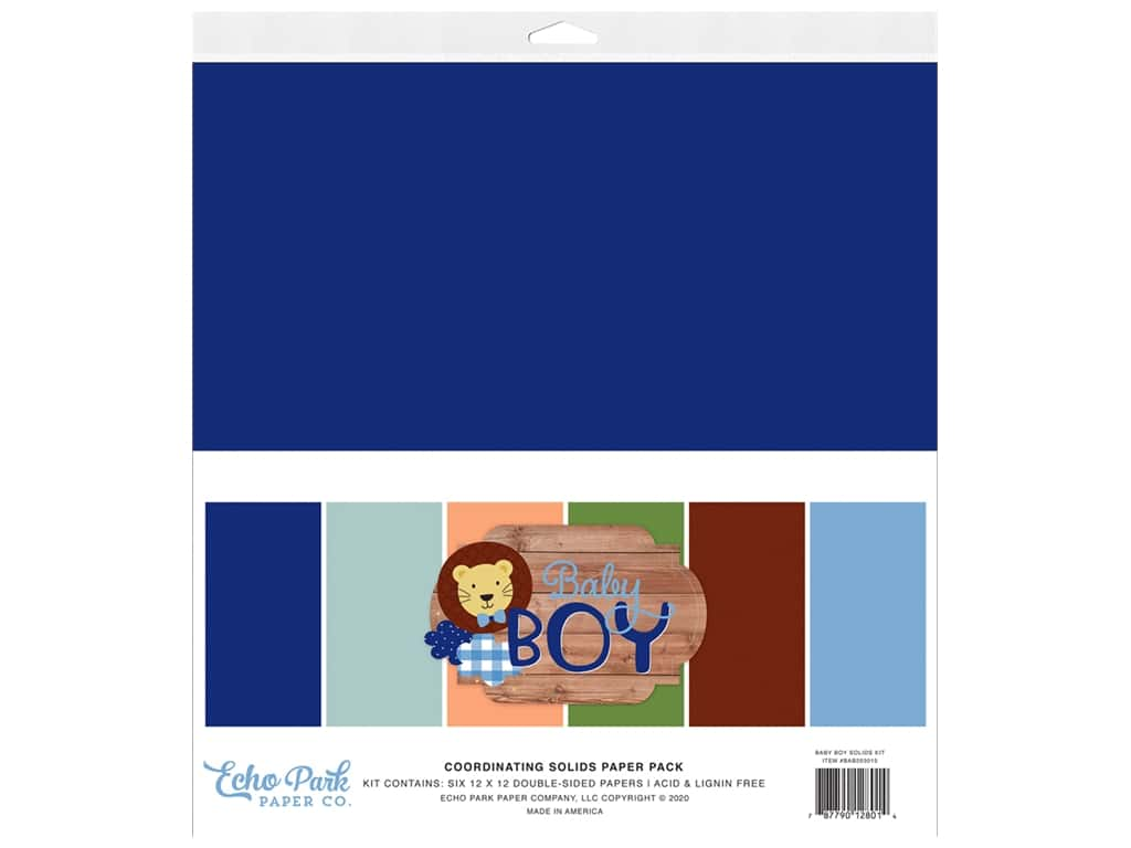 Echo Park Collection Baby Boy Solids Kit 12 in. x 12 in.