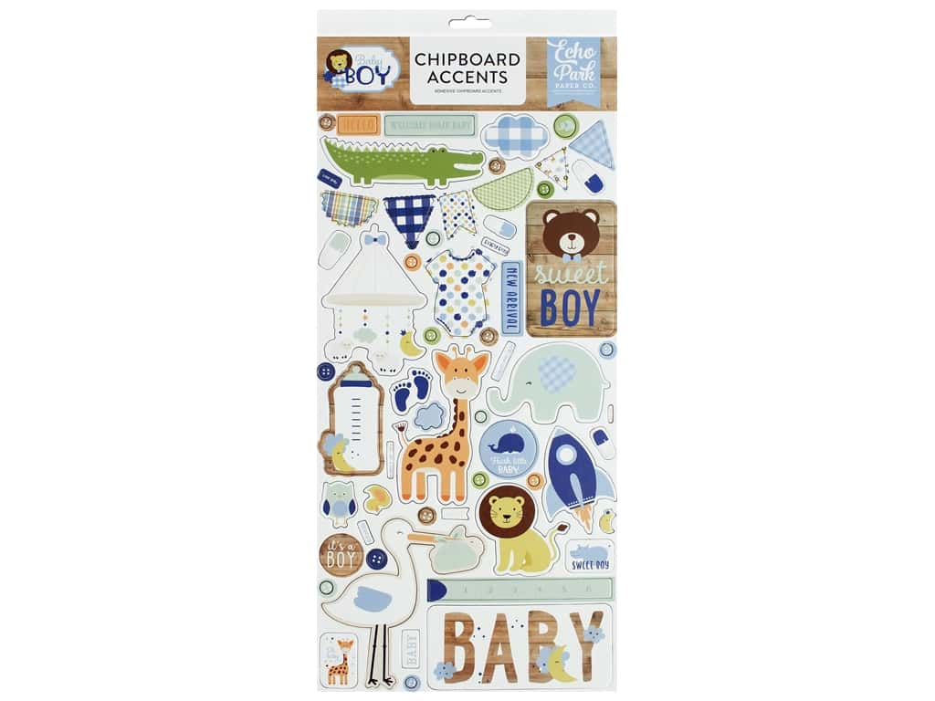 Echo Park Collection Baby Boy Chipboard 6 in. x 12 in. Accents