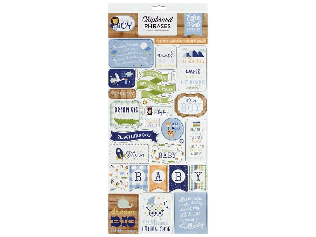 Echo Park Collection Baby Boy Chipboard 6 in. x 12 in. Phrases