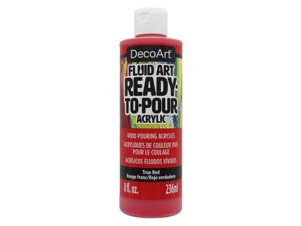 DecoArt Fluid Art Ready To Pour Acrylic Paint True Red 8oz