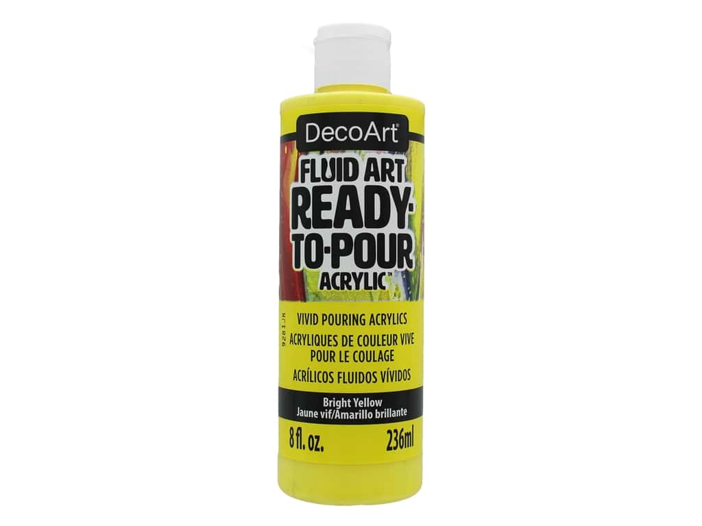 DecoArt Fluid Art Ready To Pour Acrylic Paint Bright Yellow 8oz