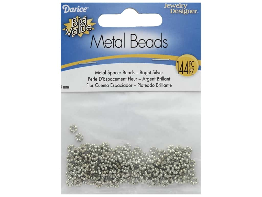 Darice Beads Spacer Bead 4mm Flower Bright Silver 135pc
