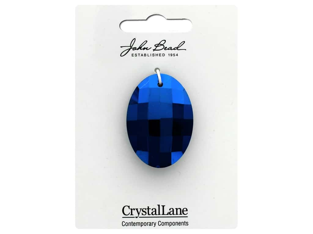 John Bead Crystal Lane Faceted Oval 27x37mm Blue Iris