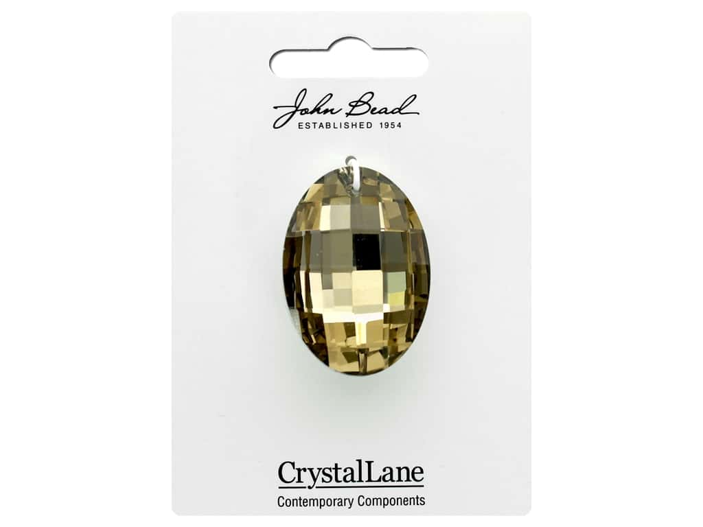 John Bead Crystal Lane Faceted Oval 27x37mm Light Amber