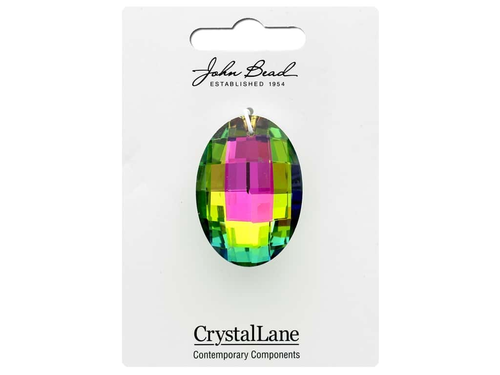 John Bead Crystal Lane Faceted Oval 27x37mm Multi