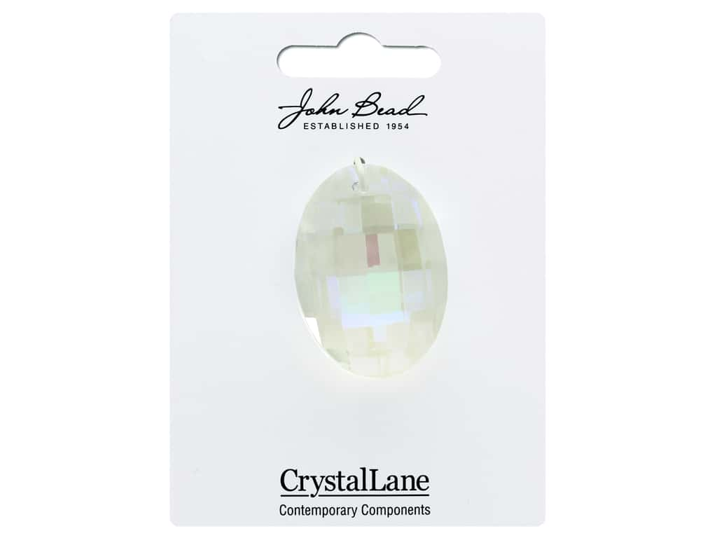 John Bead Crystal Lane Faceted Oval 27x37mm Crystal Aurora Borealis