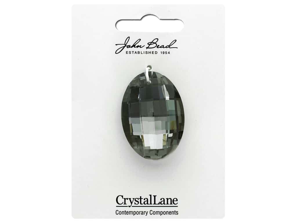John Bead Crystal Lane Faceted Oval 27x37mm Grey