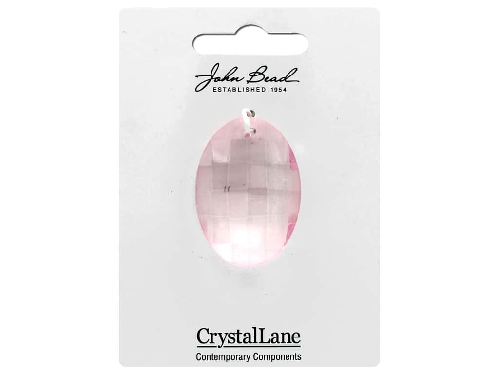 John Bead Crystal Lane Faceted Oval 27x37mm Pink