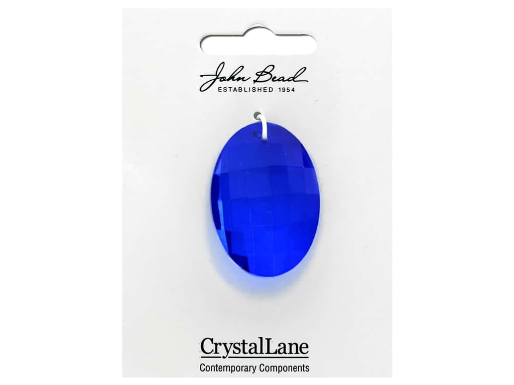 John Bead Crystal Lane Faceted Oval 27x37mm Sapphire