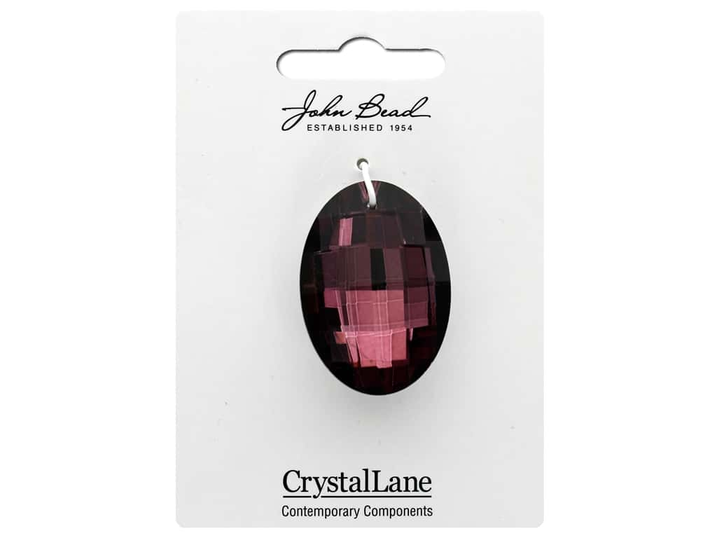 John Bead Crystal Lane Faceted Oval 27x37mm Purple