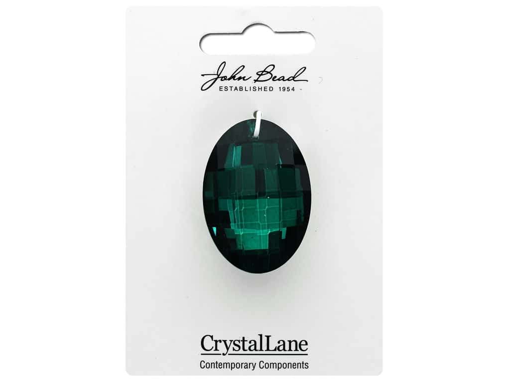 John Bead Crystal Lane Faceted Oval 27x37mm Dark Green