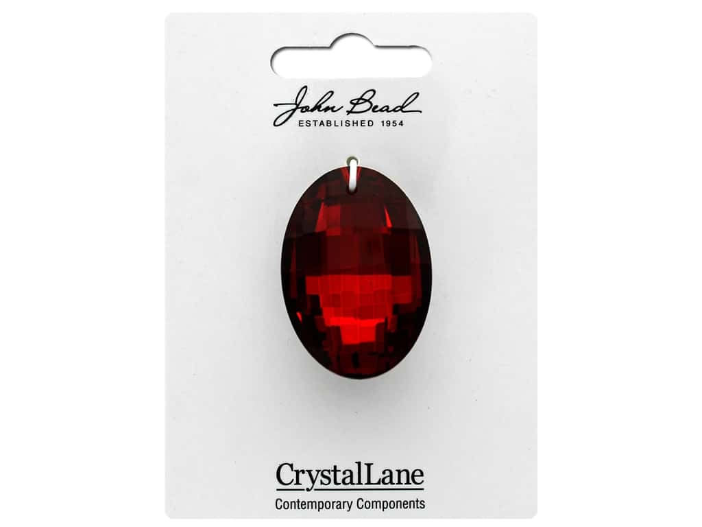 John Bead Crystal Lane Faceted Oval 27x37mm Red