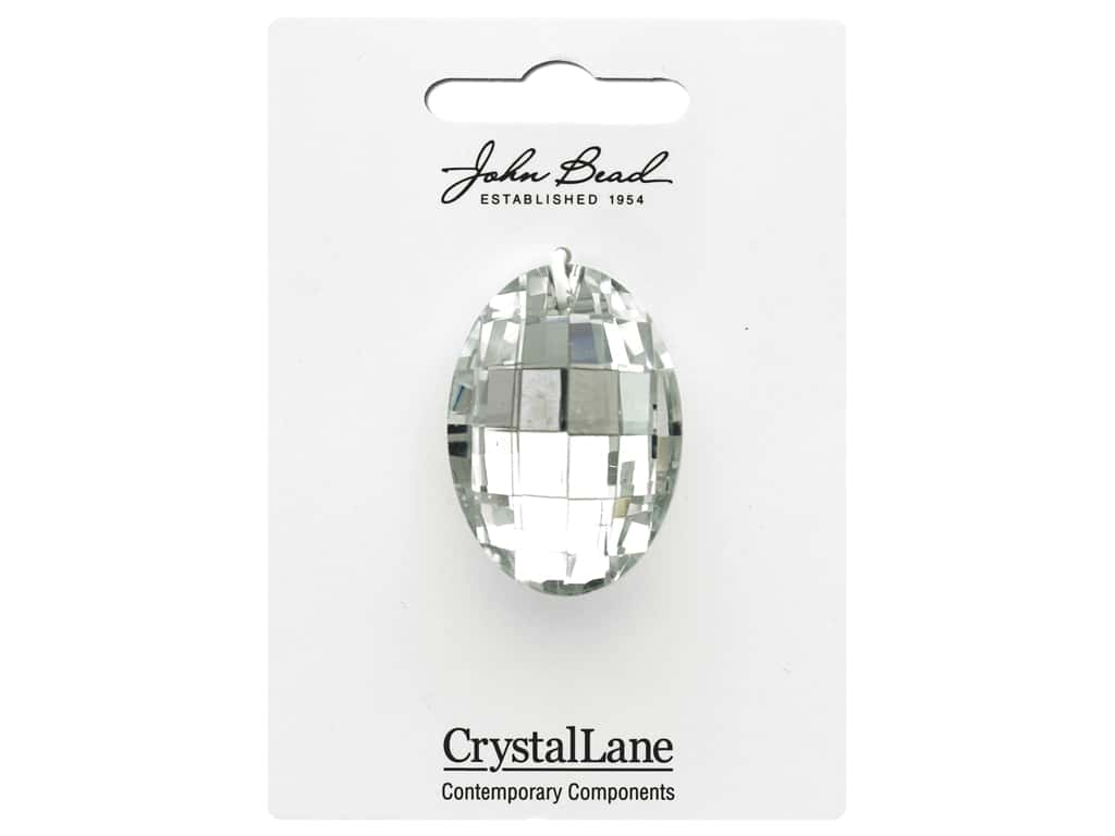 John Bead Crystal Lane Faceted Oval 27x37mm Crystal
