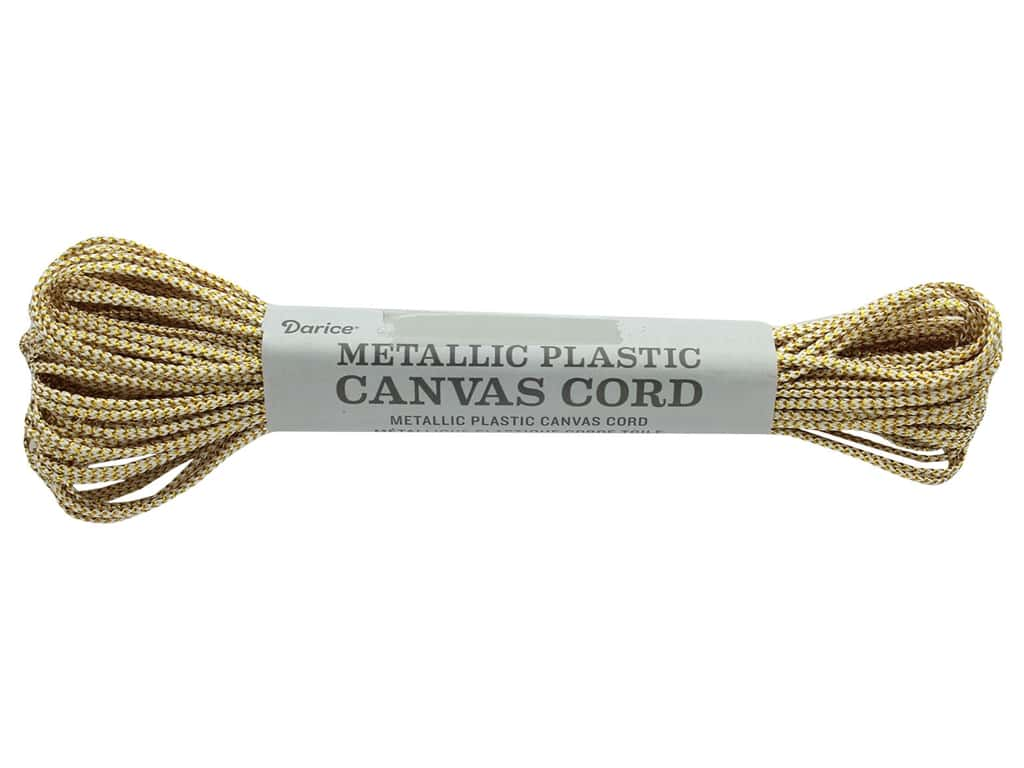 Darice Plastic Canvas Cord Metallic Gold/White 15yd