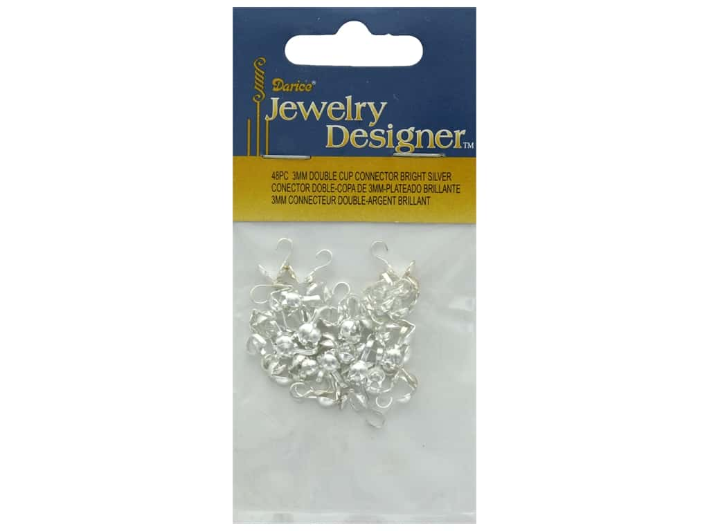 Darice Connector Double Cup 3mm Bright Silver 48pc