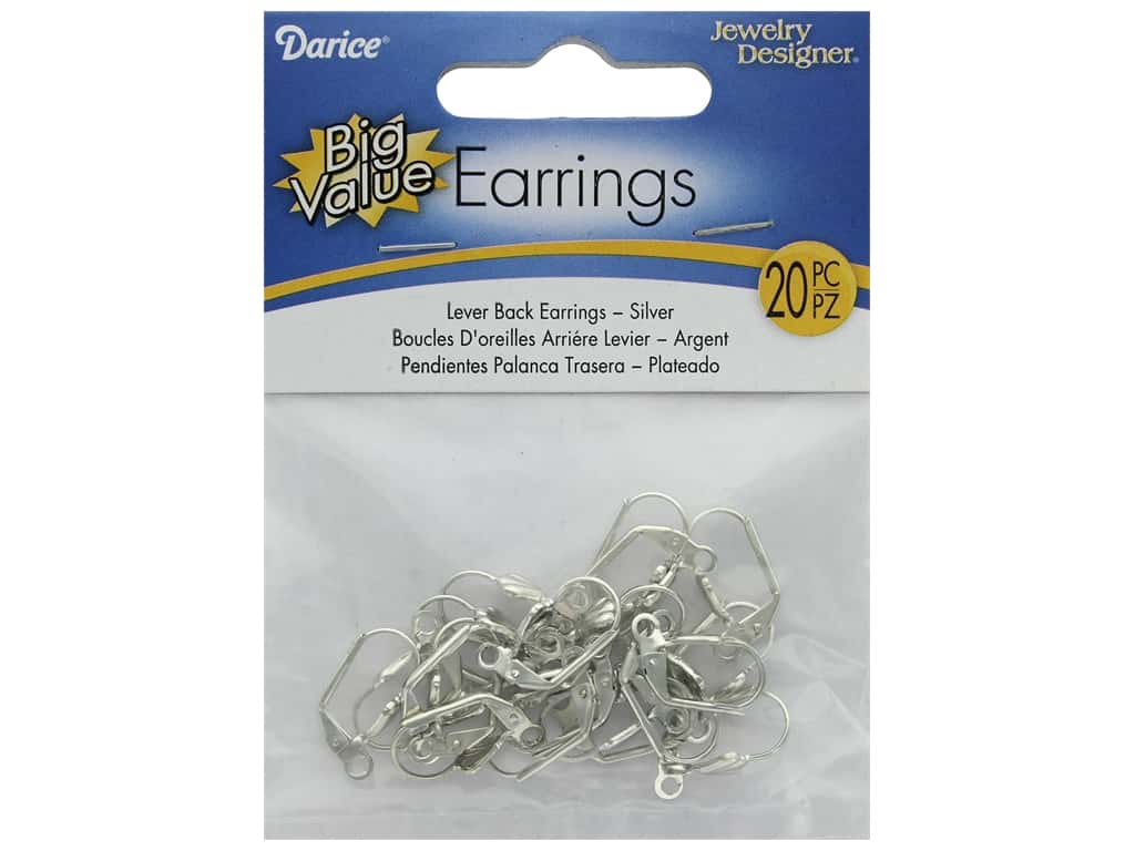 Darice Earring Lever Back Silver 20pc