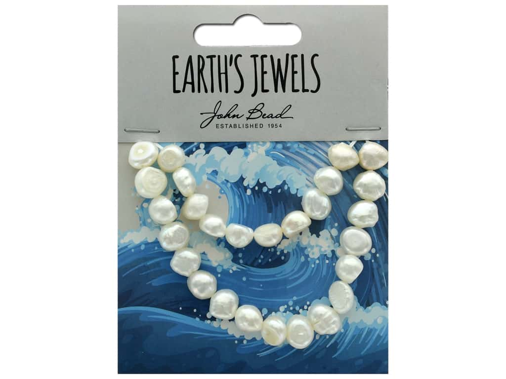 John Bead Freshwater Pearls Fancy Shape 9mm White