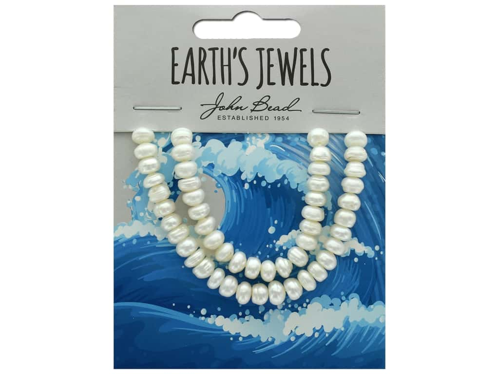 John Bead Freshwater Pearls Semi Round Shape 6-6.5mm White