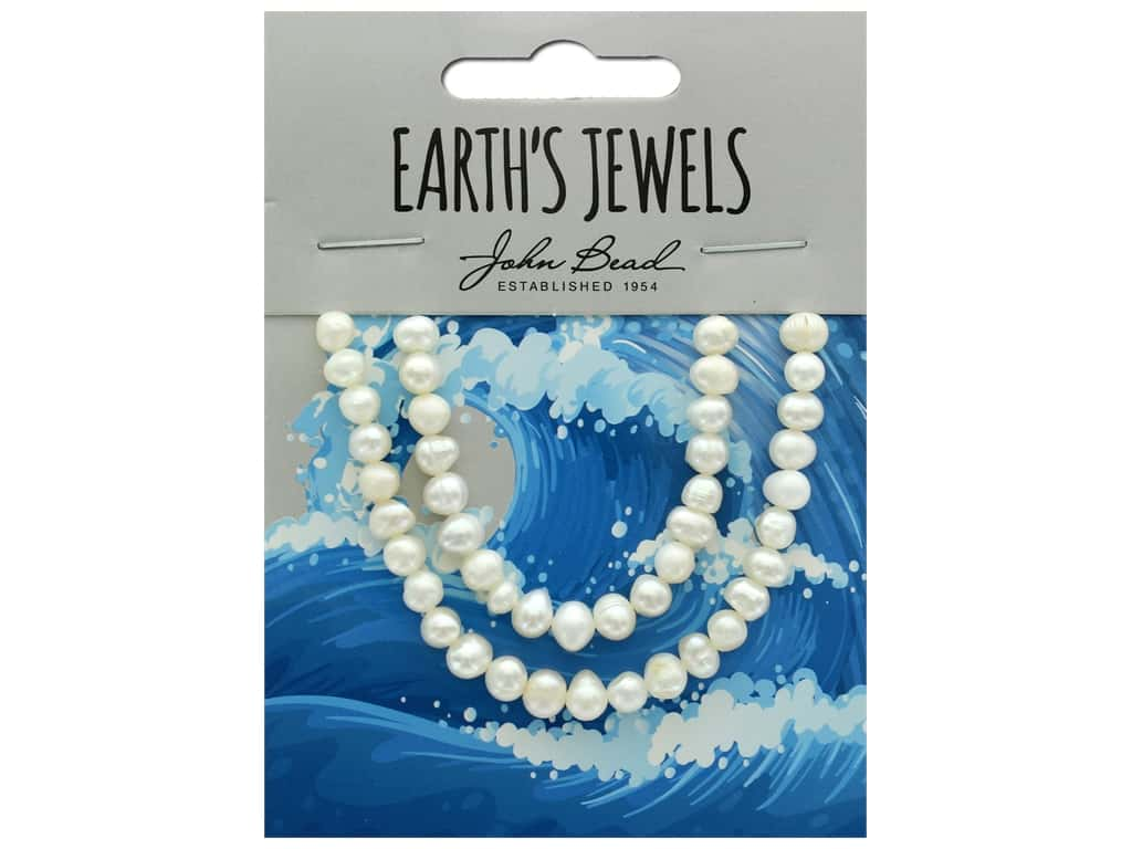 John Bead Freshwater Pearls Potato Shape 4-5mm White