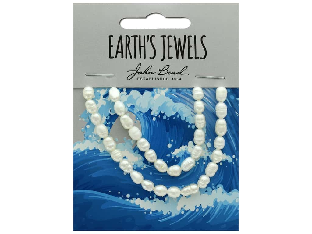 John Bead Freshwater Pearls Rice Shape 4-5mm White