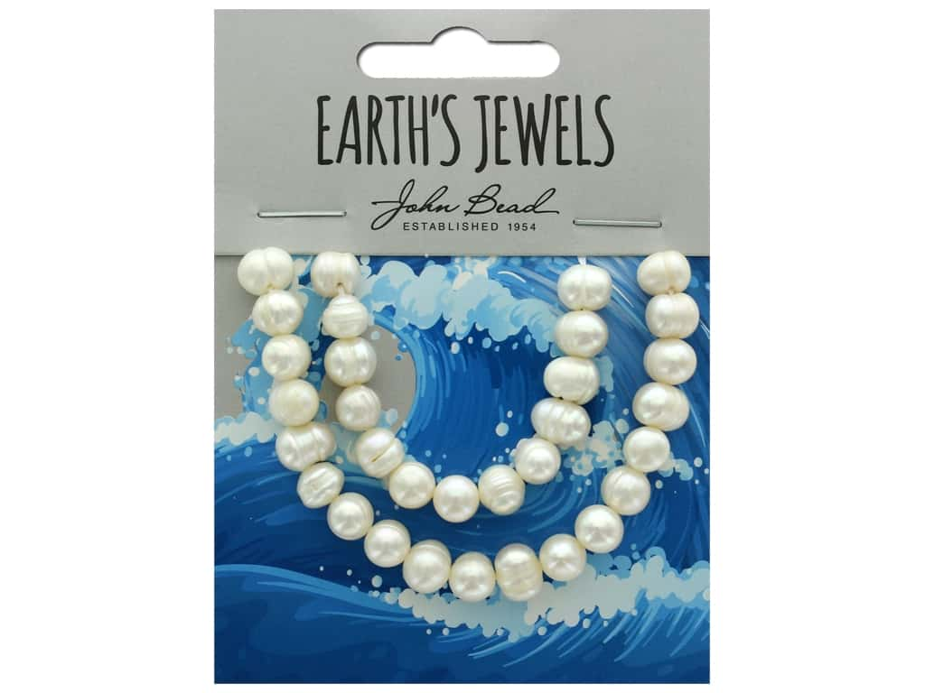 John Bead Freshwater Pearls Potato Shape 6-6.5mm White