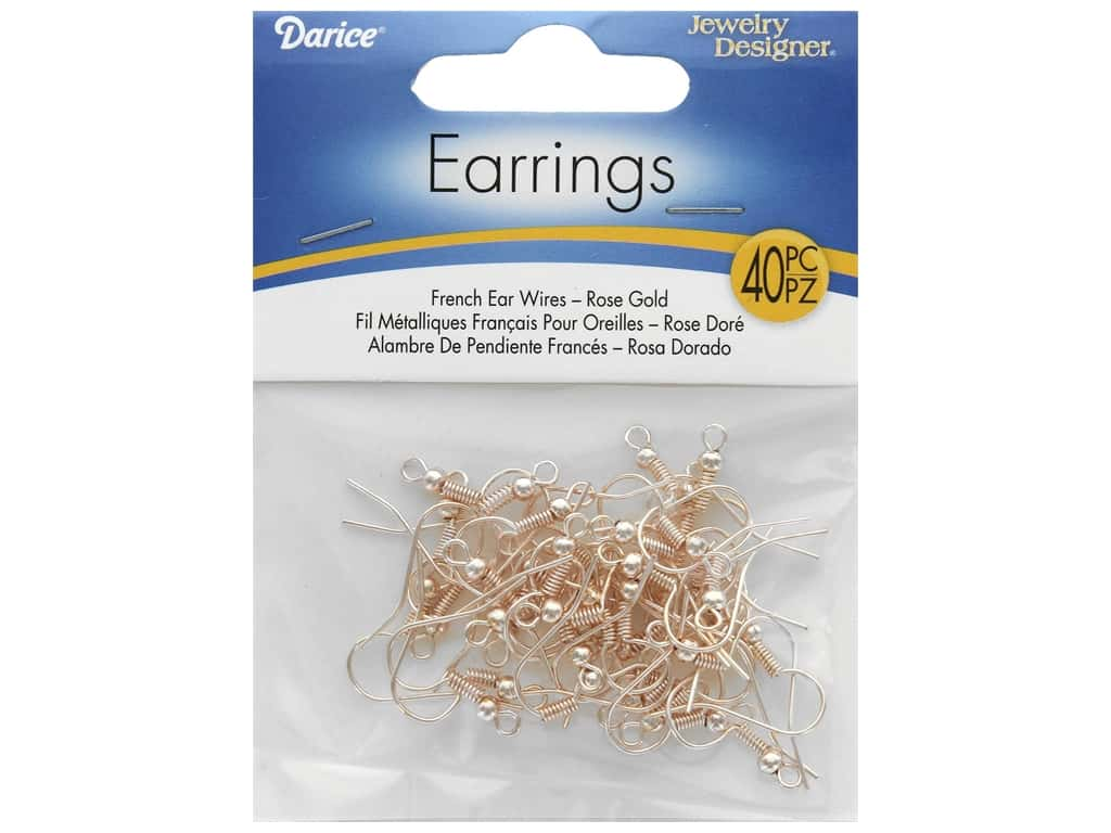 Darice French Earwire Rose Gold 40pc