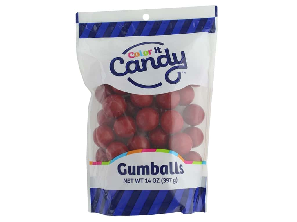 Color It Candy Gumballs Stand Up Bag Red 14oz