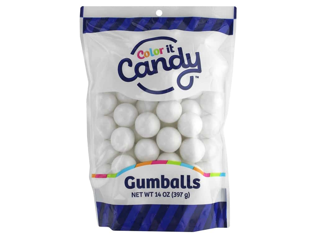 Color It Candy Gumballs Stand Up Bag Shimmer White 14oz