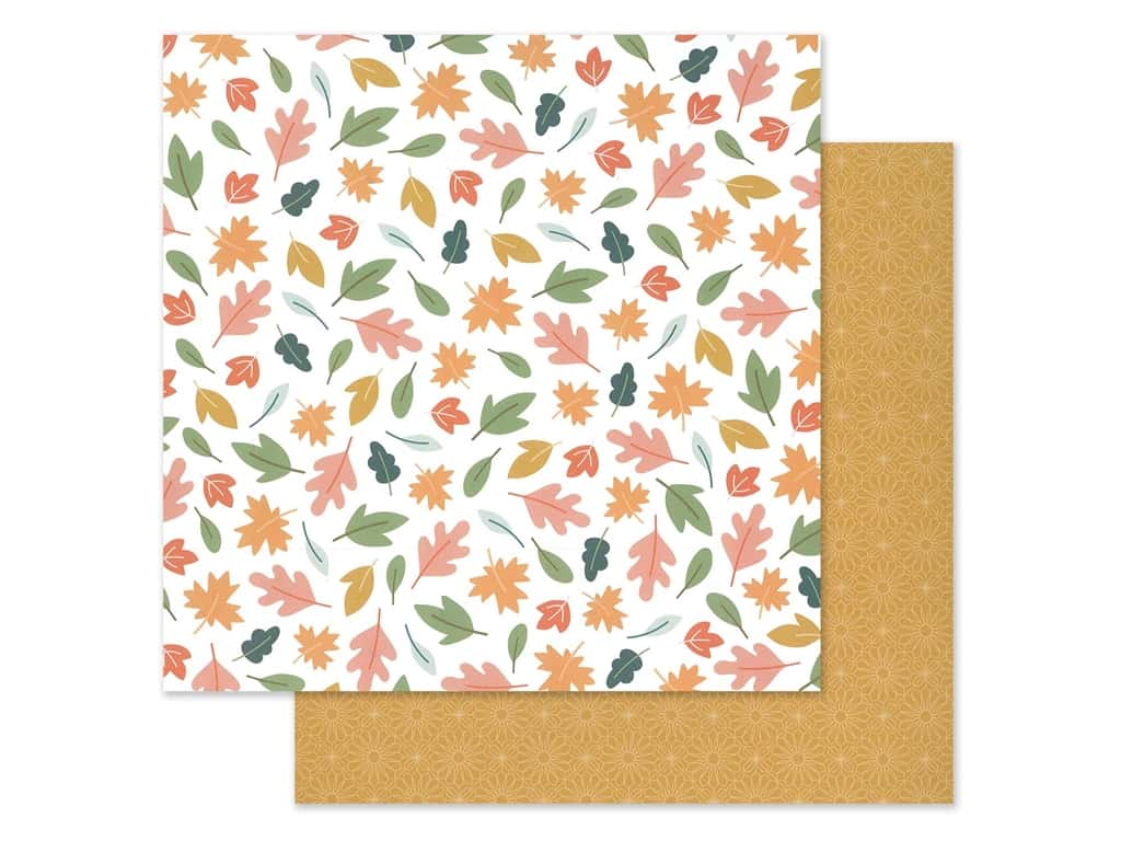 """Pebbles Jen Hadfield Home Made Collection This Is Family Paper 12""""x 12"""" Scattered Leaves (25 pieces)"""