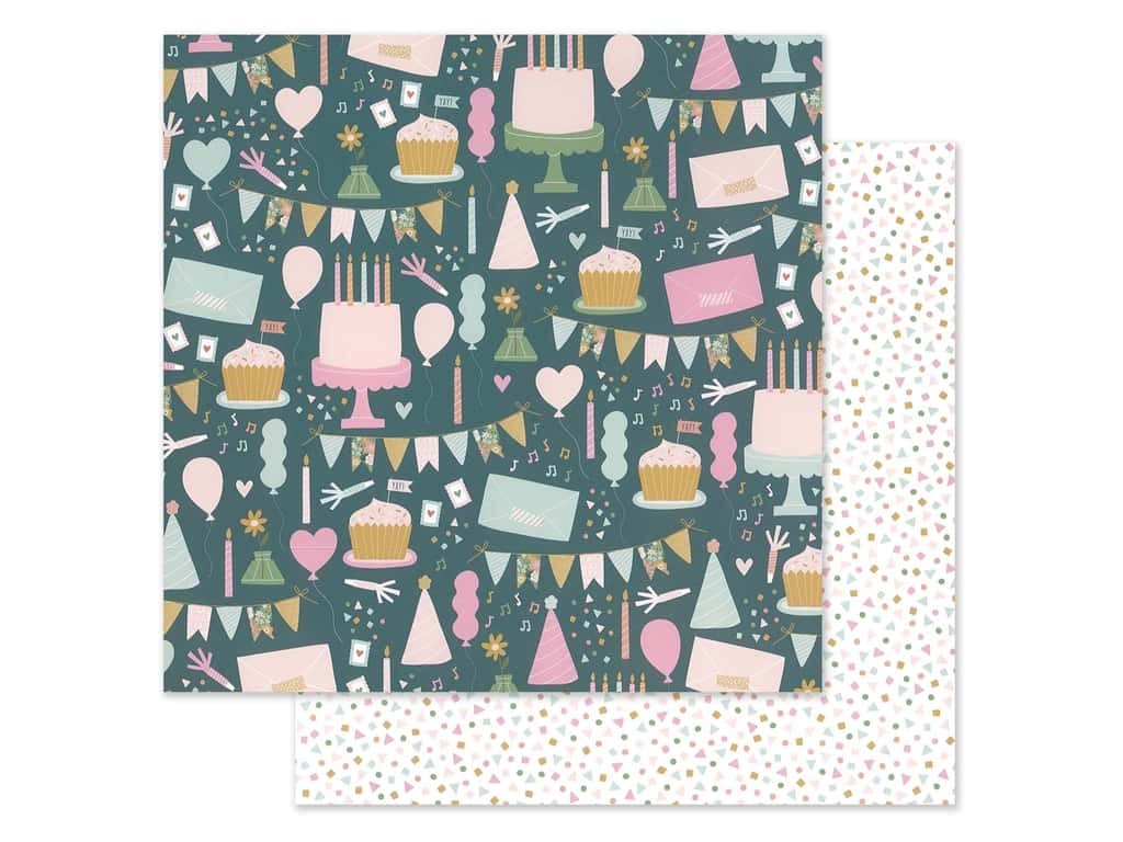 """Pebbles Jen Hadfield Home Made Collection This Is Family Paper 12""""x 12"""" Celebration (25 pieces)"""