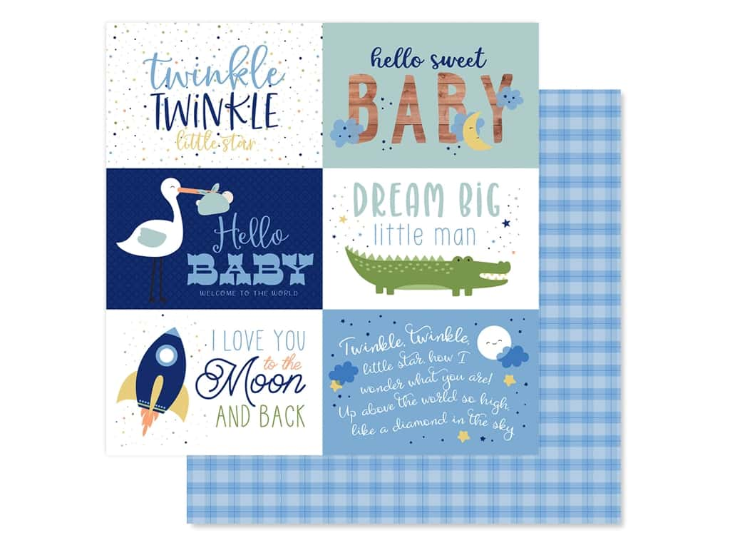 """Echo Park Collection Baby Boy Paper 12""""x 12"""" Journaling Cards 6""""x 4"""" (25 pieces)"""