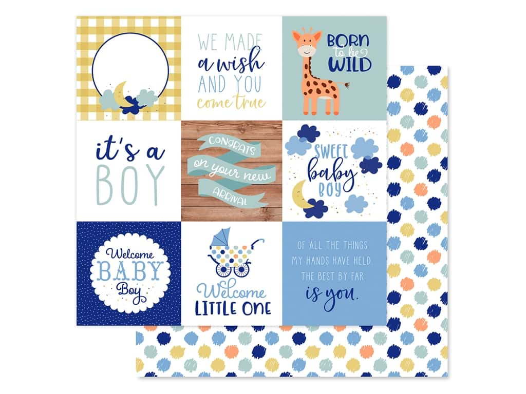 """Echo Park Collection Baby Boy Paper 12""""x 12"""" Journaling Cards 4""""x 4"""" (25 pieces)"""