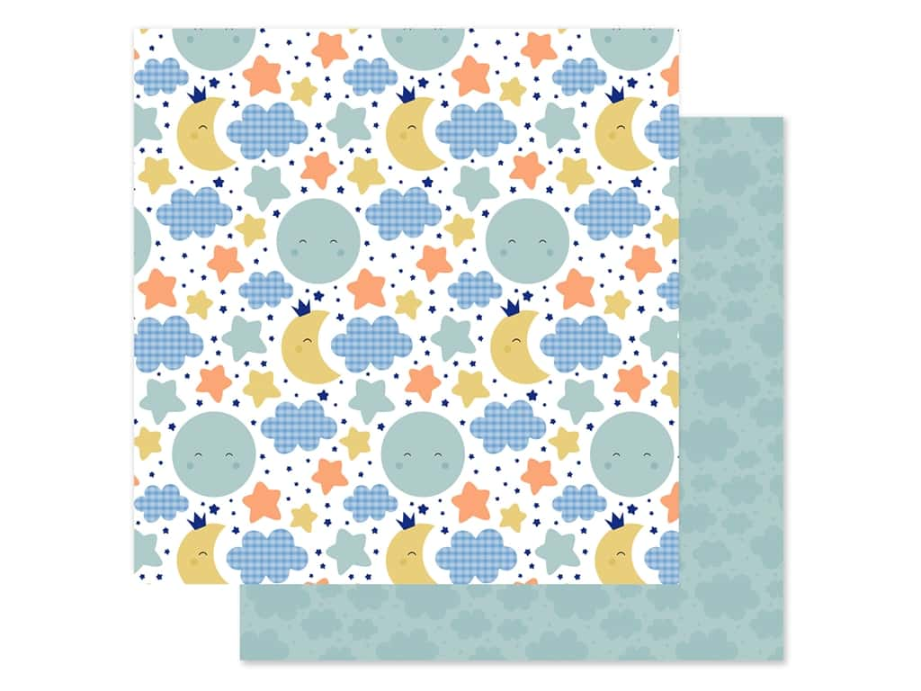 """Echo Park Collection Baby Boy Paper 12""""x 12"""" Moon & Stars (25 pieces)"""