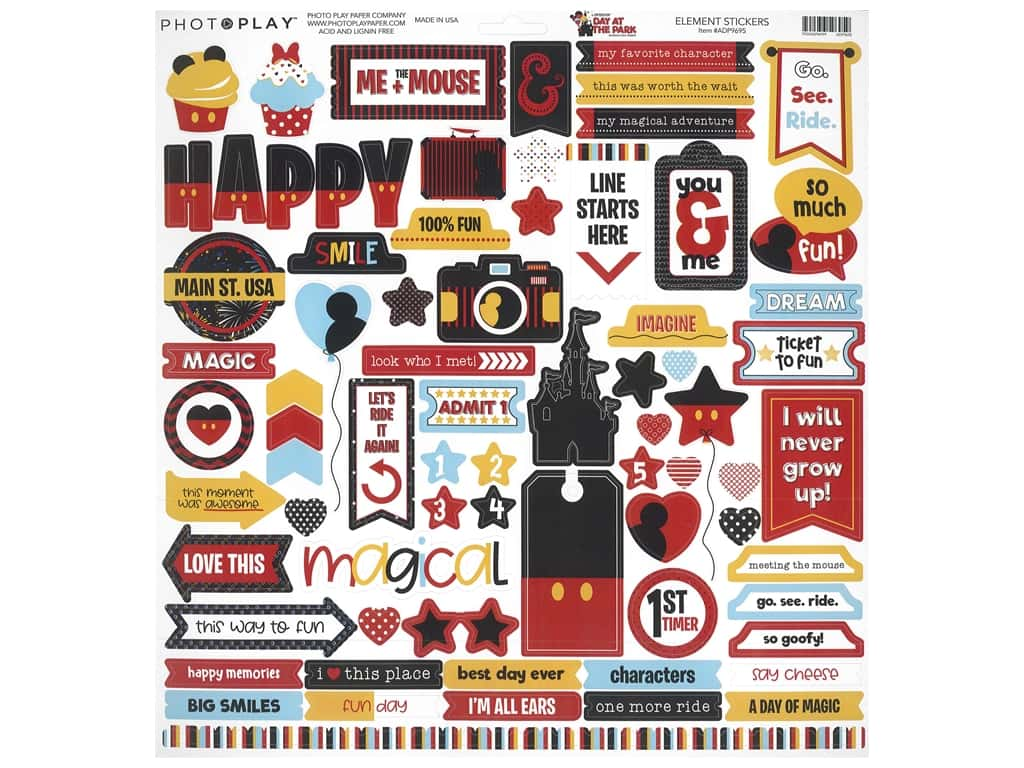 """Photo Play Collection Another Day At The Park Sticker 12""""x 12"""" Elements (12 pieces)"""