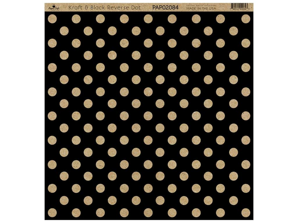 "Paper Cafe Cardstock 12""x 12"" Kraft & Black Reverse Dot 15pc"